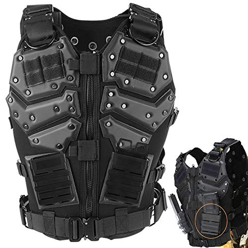 ActionUnion Airsoft Molle Tactical Armor Vests Military Costume With Pouches Plates Chest Protector Vest CS Field Outdoor Combat Training Special Forces Adjustable (Vest+2pcs 5.56 fast mag pouch)