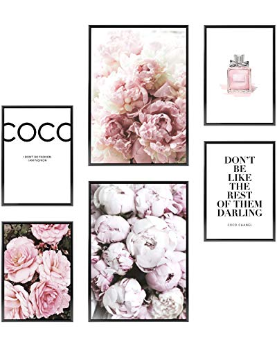 Heimlich® Premium Poster Set | Stilvolles Set mit passenden Bilder als Wohnzimmer Deko | 2 x DIN A3 & 4 x DIN A4 - ca. 30x42 & 21x30 | ohne Bilderrahmen » Coco «