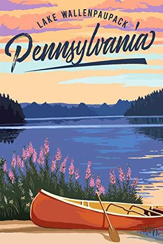 Lake Wallenpaupack, Pennsylvania - Canoe and Lake (9x12 Art Print, Wall Decor Travel Poster)