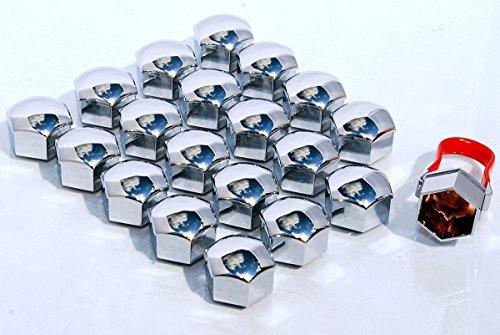 Paquete de 20 tapas universales de 17mm con efecto cromo de protección...