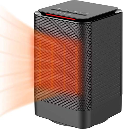 Kloudi Space Heater, Portable Electric Ceramic Heaters for Office, Quiet Personal Heaters Under Desk, Oscillating Floor Heater with Tip-Over&Overheating Protection for Home,ETL Certified Black