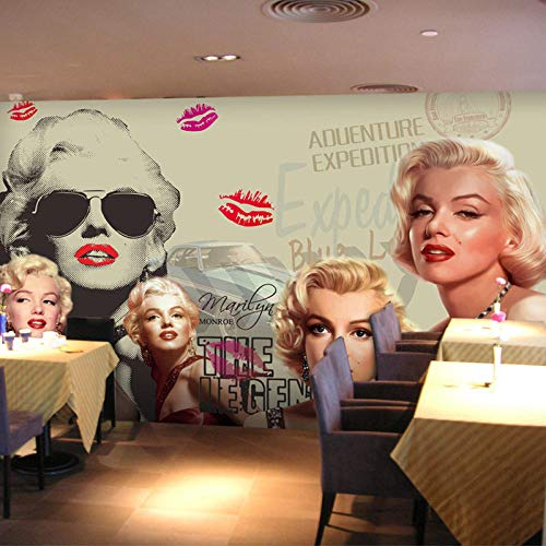 Mode Vrouw Muurschildering Behang Fotobehang Europese stijl Foto van Marilyn Monroe Behang Papieren Studeerkamer Sofa Achtergrond Home Decor-150x105 cm (59,1 bij 41,3 inch)