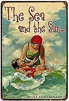 海と太陽、ブリキのサインヴィンテージ面白い生き物鉄の絵の金属板ノベルティ