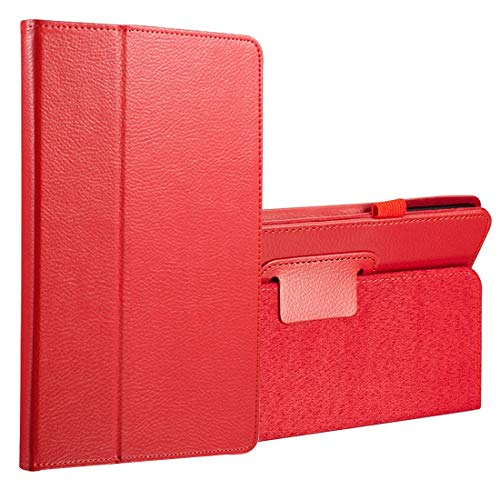 ZENGMING Tablet PC Case Cover for Galaxy Tab A 8.0 (2017) / T380 / T385 Litchi Texture Horizontal Flip PU Leather Protector Case with Holder (Black) (Color : Red)