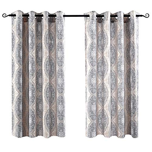 DriftAway Adrianne Thermal and Room Darkening Grommet Unlined Window Curtains Set of 2 Panels Each 52 Inch by 54 Inch Beige and Gray
