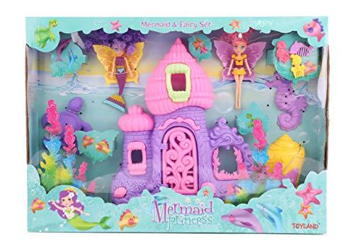 Toyland® Speelset met Zeemeermin en Feeën met Poppen, Kasteel en Accessoires