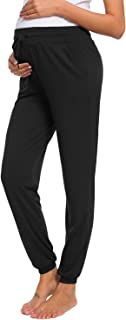 Women's Maternity Loose Casual Pants Stretchy Comfortable Lounge Pants Pregnancy Trousers Black
