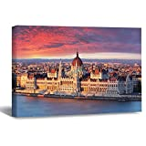 VinMea Wall Art Canvas Sunrise In Budapest Hungarian Parliament Danube River Strecthed Poster Picture Ready to Hang Modern Home Art Decor, 16 x 20 Inch