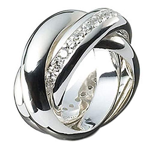 massiver 3er Ring hochwertige Goldschmiedearbeit (Sterling Silber 925) Dreierring mit Zirkonia Steinen Rollring Spielring - 3-fach Ring - Dreier Ring - 3-er Ring - Damenring