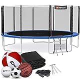 Hop-Sport Outdoor Trampolin Ø 490 cm – Gartentrampolin Komplettset mit stabilen U-Beinen, außenliegendem Netz, Sprungtuch und Leiter sowie Extra-Zubehör, blau