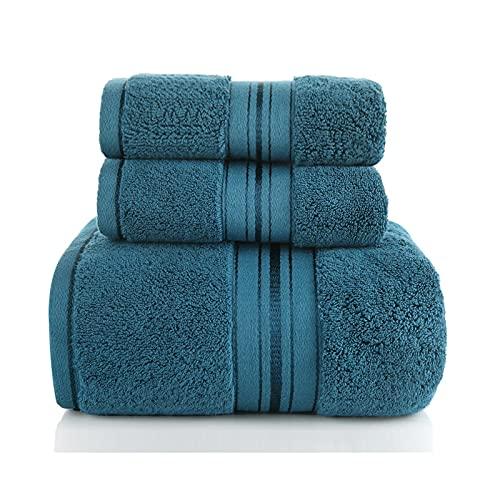 jinrun Toallas baño Toallas de baño de 3 Piezas Hogar de algodón Puro Absorbente Suave y Gruesa Gruesa Toalla de baño Calidad sábanas de baño (Azul Oscuro) Bath Sheet