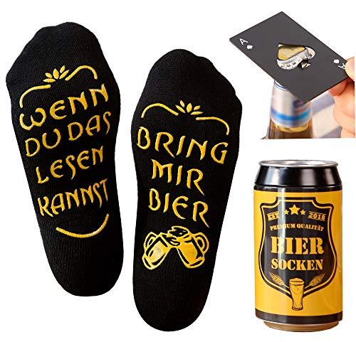 Bier Socken Herren + Flaschenöffner aus Edelstahl, Bier Geschenke für Herren, Geburtstagsgeschenk für Männer, Wenn Du das Lesen Kannst bring mir Bier (Schwarz Biersocken + Flaschenöffner Schwarz)