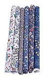 LIXBD 6 Stück Baumwollstoffbündel Quadrate Nähen Patchwork Blumen Bedruckt Stoff für DIY Handwerk Nähen Scrapbooking Quilten 50 x 40 cm (Farbe: Grau)