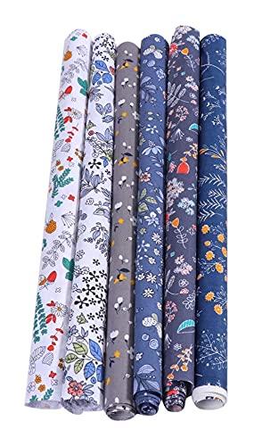 LIXBD - Set di 6 pezzi di tessuto di cotone per cucito, patchwork, stampa floreale, per fai da te, cucito, scrapbooking, quilting, 50 x 40 cm (colore: grigio)