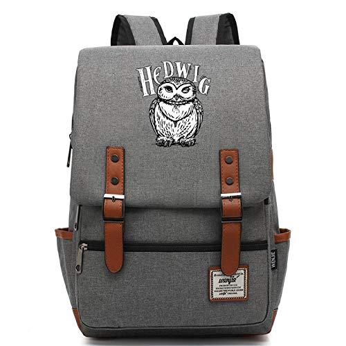 MMZ Mochila de búho Impermeable para Adolescentes Harry Potter Magic School Bag Unisex Regalo L Gris