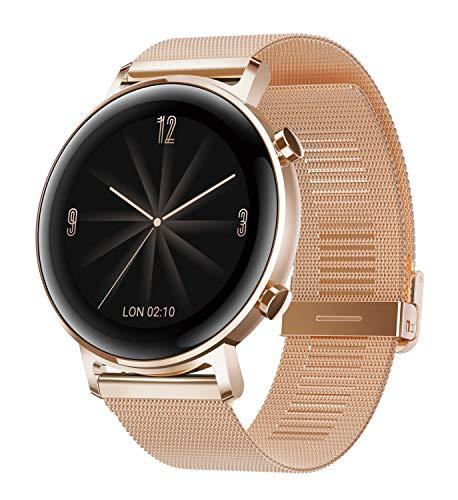 HUAWEI Watch GT 2 Smartwatch (42 mm Full-Color-AMOLED Touchscreen, SpO2-Monitoring, Herzfrequenzmessung, Musik Wiedergabe, 5ATM wasserdicht, GPS) Refined Gold [Exklusiv +5 EUR Gutschein]