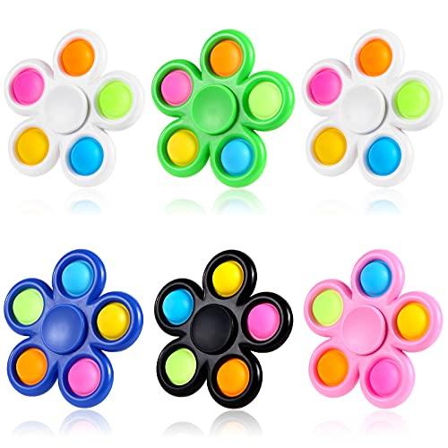 GOHEYI 6 Pack Pop Fidget Spinners, Push Bubble Fidget Spinner, Party Favor Sensory Simple Fidget...
