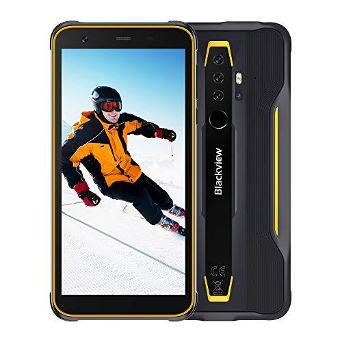 Blackview BV6300 Pro Outdoor Smartphone ohne Vertrag Android 10, 11,6 mm Dicke 5,7 Zoll Anzeige 16MP+8MP+13MP Kamera Helio P70 6GB RAM+128GB Speicher 4380mAh Akku NFC Robusts Handy (Gelb)