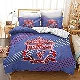 QXbecky Ropa de Cama Football Club Manchester United Arsenal Edredón Funda de Almohada 2, Juego de 3 Piezas Real Madrid