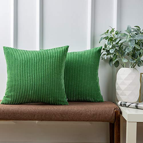 Ashler Set of 2 Soft Plush Velvet Green Striped Corduroy Throw Pillow Cushion Cover 22 x 22 inch