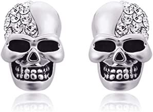AMBESTEE Stainless Steel Skull Studs Earrings Crystal Eye Skeleton Head Bone Stud Earrings for Men Women
