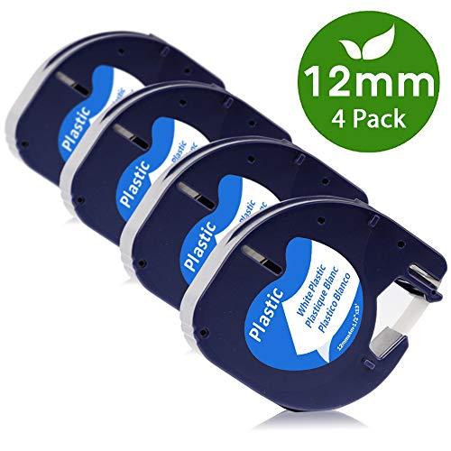 COLORWING Kompatible Etikettenband als Ersatz für LetraTag Plastic White 12mm x 4m S0721660 91221 für Dymo LetraTag Etikettendrucker LT-100H LT-100T LT110T XR, Kunststoff etiketten schwarz auf weiß