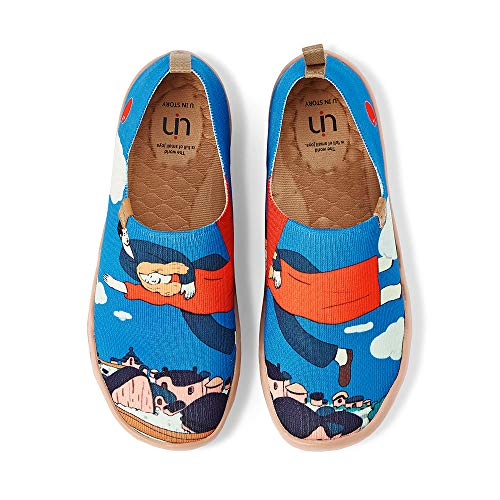 UIN Women's Lightweight Slip Ons Comfort Walking Knitted Flats Casual Art Painted Travel Shoes Over The Town (10)