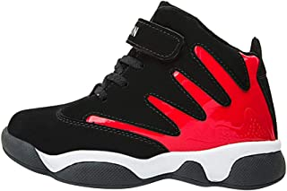 Hopscotch Boys PU Velcro and Fixed Lace High Tops Shoes in Red Color