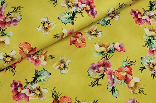 Jersey Stoff mit Blumen auf Gelb als Meterware zum Nähen - Digitaldruck, 50 cm