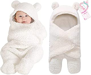 Newborn Baby Boy Girl Cute Cotton Plush Receiving Blanket Sleeping Wrap Swaddle (White, One Size)