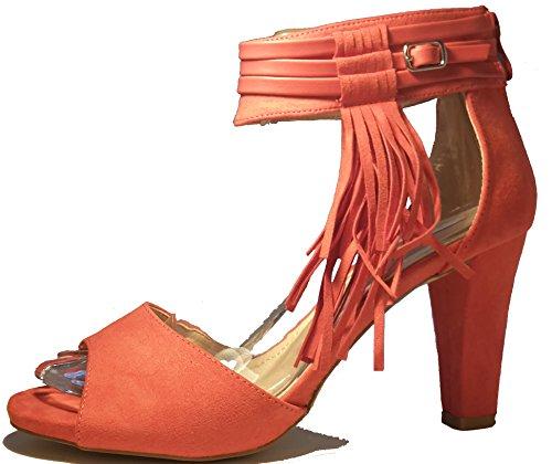 Exklusive Stiletto Pumps High Heels Sandalen. Rot mit Fransen, Damenschuhe, SAN105, Schuh für Damen. EIN echter Hingucker-Schuh. Rot. SAN105. Größe 39.