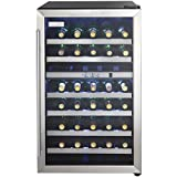 Danby DWC114BLSDD Designer 38-Bottle Dual-Zone Wine Cooler, Black/Stainless Steel/Glass Beverage Center
