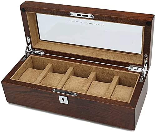 Makeup mirror DOL Schmuckschatulle 5 Slots Feste Premium Holz Watch Halter Organizer Holzuhr Hülle Für Männer Display Große Uhrenbox