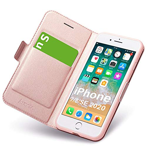Hülle iPhone 8, Hülle iPhone SE 2020, iPhone 7 Schutzhülle mit Kartenfach, iPhone 8 Tasche Leder, Phone 7 Handyhülle, Etui Folio Flip Cover Case, Klapphülle Komplettschutz Apple 4.7 Zoll. Rosegold