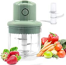 Electric Mini Garlic Chopper,USB Charging Portable Food Chopper,Wireless Powerful Small Food Processor Potato Masher Blender to Meat/Vegetables/Chop Fruits/Onion/Garlic, Best Gift for Mom (Green)