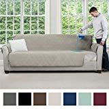 MIGHTY MONKEY Premium Water and Slip Resistant X-Large Oversized Sofa Slipcover, Seat Width Up to 78 Inch, Absorbs 6 Cups of Water, Oeko Tex Certified, Suede-Like, Couch Cover for Pets, Sofa, Taupe