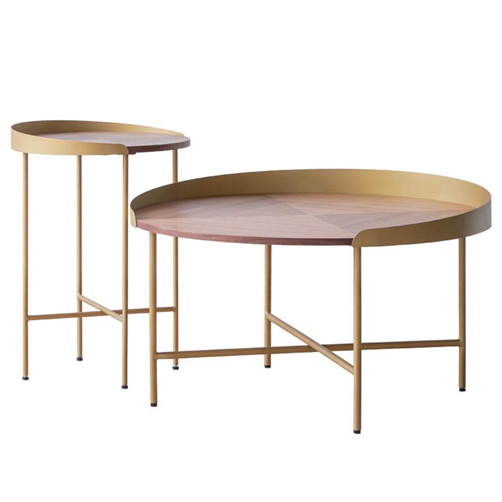 Mesa de centro redonda, mesa auxiliar de nido, mesa de centro moderna, minimalista, mesa auxiliar para sala de estar, funcional y adecuada para cualquier habitación, metal, dorado, 2 unidades: Amazon.es: Hogar