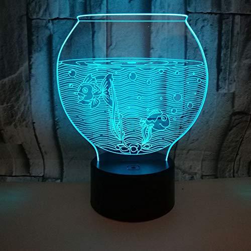 LED nachtlampje 3D illusie 7 kleuren verloop aquarium kleine tafellamp touch afstandsbediening sfeerverlichting kleine tafellamp kinderen cadeau