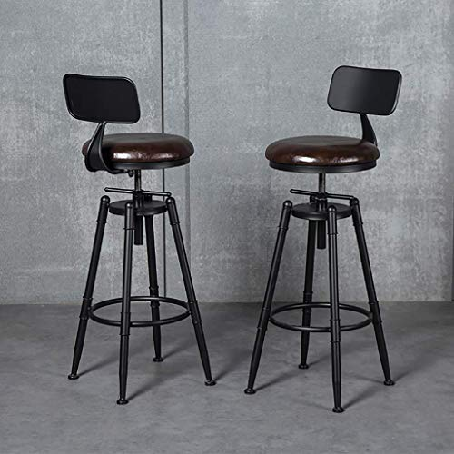AYU Bar Stool Set of 2 Bar Chair Vintage Style Industrial Bar Stools with Foot Rest Design Swivel Seat for Living Room or Kitchen (Brown, Height 26.8-33.5inch)