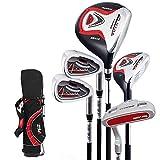 Lots de clubs de golf pour enfant, avec sac support, noir/rouge, 9-12 years old,130-150cm tall