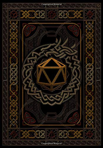 RPG Journal: Mixed Paper - Ruled, Graph, Hex | 120 Pages | Celtic Art Deco D20 Dice Dragon | Midnight Black