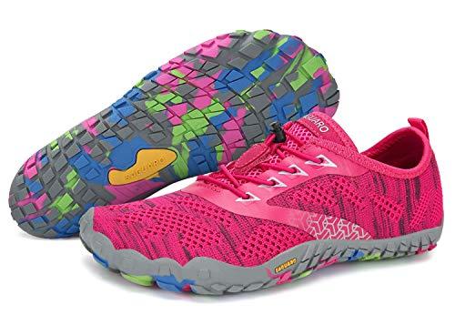 SAGUARO Unisex Wasserschuhe Schnell Trocknend Traillaufschuhe Straßenlaufschuhe Fitnessschuhe rutschfest Outdoor für Damen Herren Rot 39