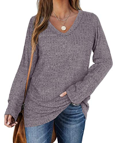WIHOLL Sweaters for Women Long Sleeve V Neck Solid Color Fashion Tops