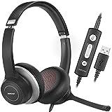 Mpow HC6 Pro - Auriculares con micrófono (USB, Ligeros, con Tarjeta de Sonido de cancelación de Ruido, Control en línea para Skype, Webinar, PC, teléfono móvil)