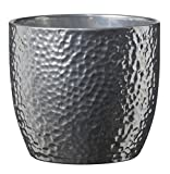 Soendgen Keramik Blumenübertopf, Boston Metallic, silber, 19 x 19 x 18 cm, 0049/0019/1874