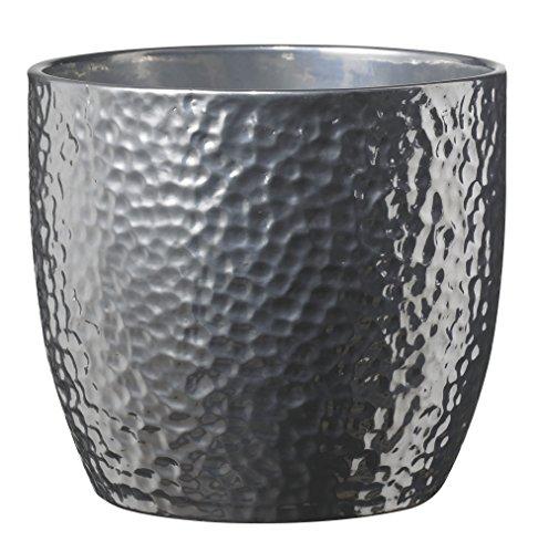 soendgen cerámica Flores Maceta, Boston metálico, Plata, Arcilla, Plata, 16 x 16 x 15 cm