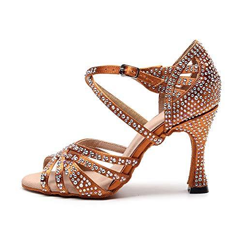 SatéN Peep Toes Rhinestone Mujer Latino Tango Salsa Zapatos De Baile Gamuza Fondo Blando Sandalias Tacones Altos Banquete De Boda