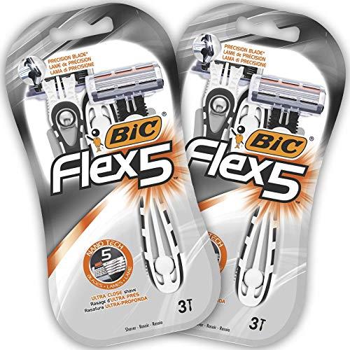BIC Flex5 Maquinillas Desechables para Hombre - Paquete de 2 Packs de 3