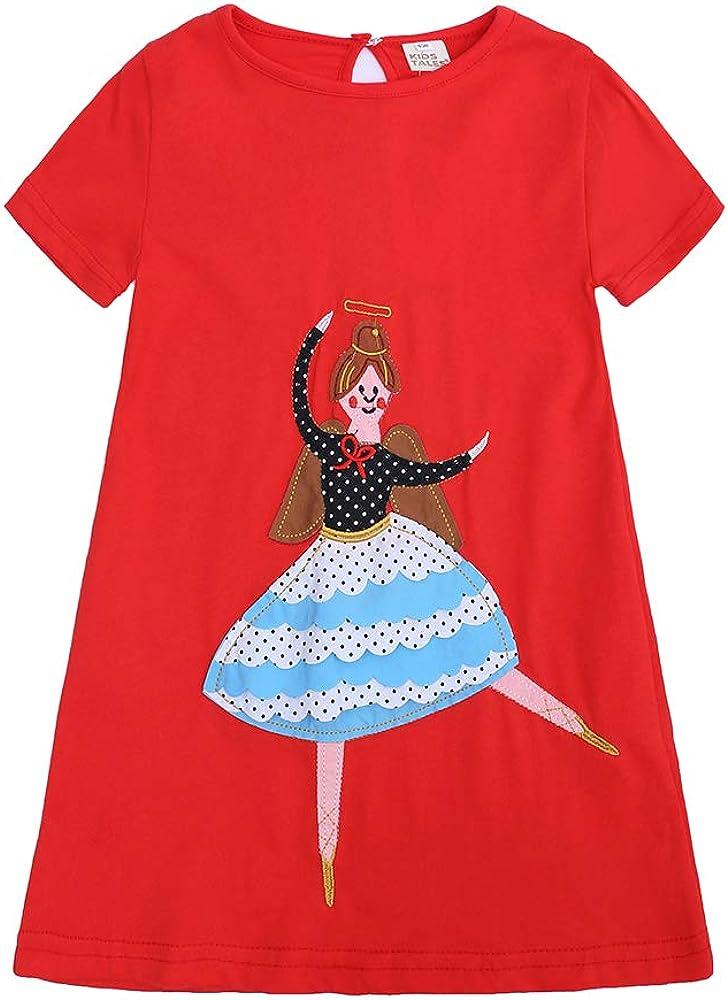 Kids Tales Little Girls Short Sleeve Dress Casual Cotton Tunic T-Shirt Dresses