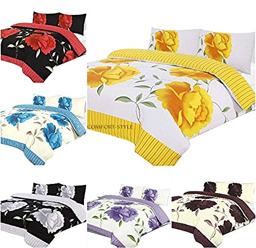 ROSALEEN DUVET/QUILT COVER SET (Cover + Pillowcases) POPPY FLOWER Printed PolyCotton Bedding Set Yellow, Teal, Red, Black, Lilac, Fuchsia, Choco, White ~ UK SIZES (Yellow, Double)